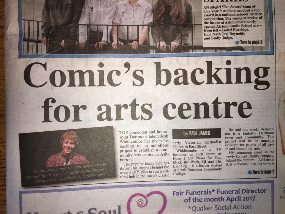 MDA Front page and Article about Ashburton Arts