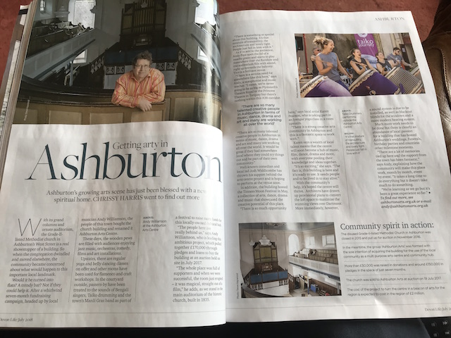 Devon Life double page spread about Ashburton Arts