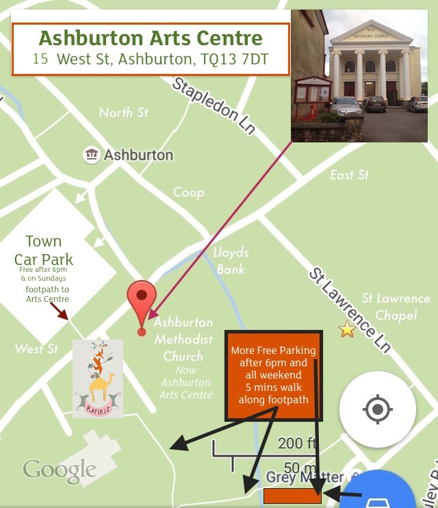 Map showing Ashburton Arts Centre, Town Car Park and other parking